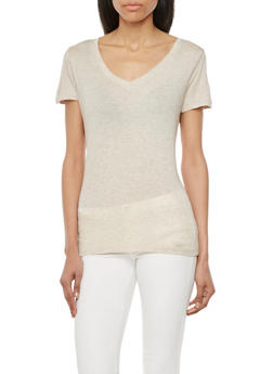 Basic V Neck Top with Short Sleeves - 1012054265798