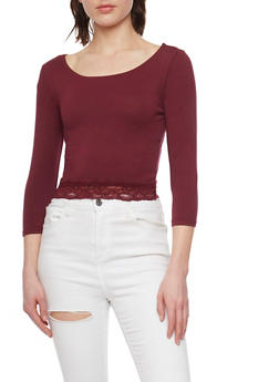 Long Sleeve Crop Top with Lace Hem - BURGUNDY - 1012054267808