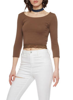 Long Sleeve Crop Top with Lace Hem - 1012054267808