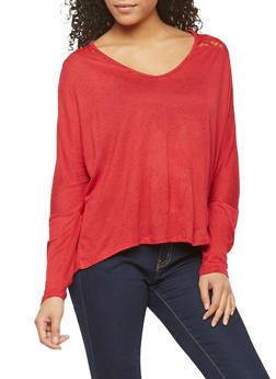 Speckle Lace Shoulder Basic Top - 1012054267945