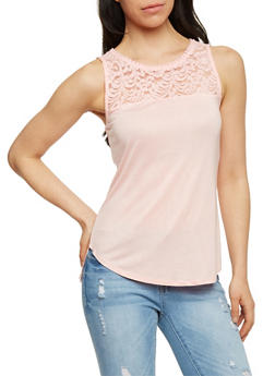 Sleeveless Lace Yoke Tank Top - 1012054268103