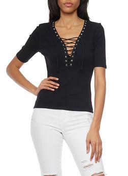 Plunging Lace Up V Neck Rib Knit T Shirt - BLACK - 1012054269219