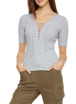 Plunging Lace Up V Neck Rib Knit T Shirt - 1012054269219