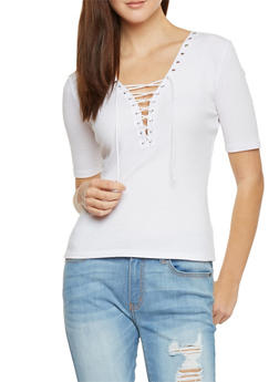Plunging Lace Up V Neck Rib Knit T Shirt - WHITE - 1012054269219