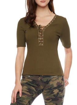 Plunging Lace Up V Neck Rib Knit T Shirt - OLIVE - 1012054269219