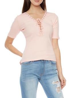 Plunging Lace Up V Neck Rib Knit T Shirt - BLUSH - 1012054269219