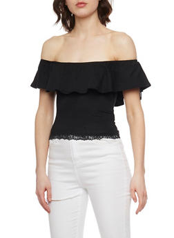 Off the Shoulder Top with Lace Trim - 1012054269242