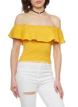 Off the Shoulder Top with Lace Trim - MUSTARD - 1012054269242