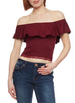 Off the Shoulder Top with Lace Trim - BURGUNDY - 1012054269242