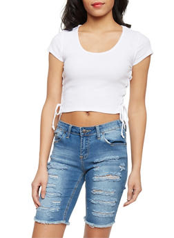 Rib Knit Crop Top with Lace Up Sides - 1012054269276