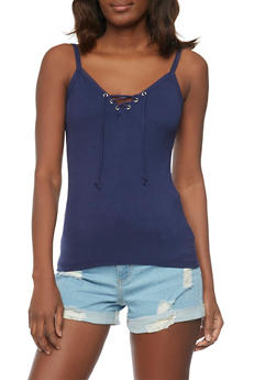 Lace Up Rib Knit Cami Top - ECLIPSE - 1012054269304