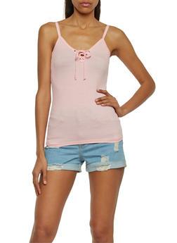 Lace Up Rib Knit Cami Top - BLUSH - 1012054269304