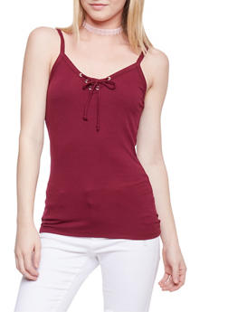 Lace Up Rib Knit Cami Top - BURGUNDY - 1012054269304
