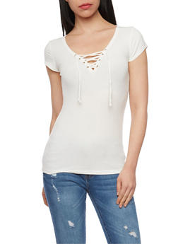 Rib Knit Lace Up V Neck Short Sleeve Top - OFF WHITE - 1012054269371
