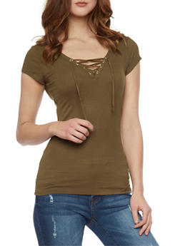 Rib Knit Lace Up V Neck Short Sleeve Top - 1012054269371