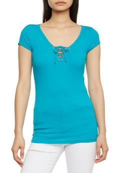Rib Knit Lace Up V Neck Short Sleeve Top - JADE - 1012054269371