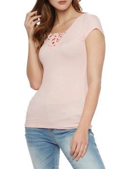 Rib Knit Lace Up V Neck Short Sleeve Top - BLUSH - 1012054269371