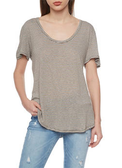 Striped Short Sleeve Scoop Neck T Shirt - 1012054269409
