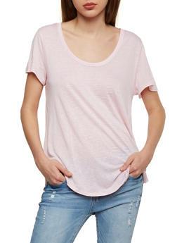 Striped Short Sleeve Scoop Neck T Shirt - BLUSH/WHT - 1012054269409
