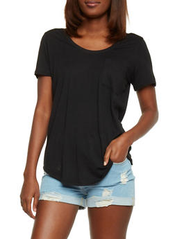 Solid Short Sleeve Scoop Neck T Shirt with Front Pocket - 1012054269410
