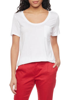 Solid Short Sleeve Scoop Neck T Shirt with Front Pocket - WHITE - 1012054269410