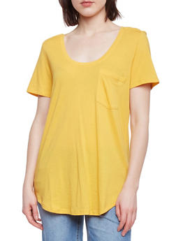 Solid Short Sleeve Scoop Neck T Shirt with Front Pocket - MUSTARD - 1012054269410