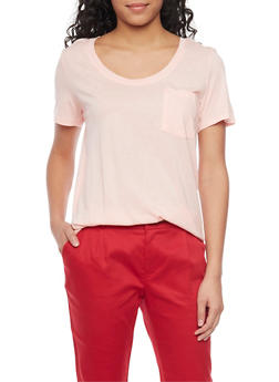 Solid Short Sleeve Scoop Neck T Shirt with Front Pocket - BLUSH - 1012054269410