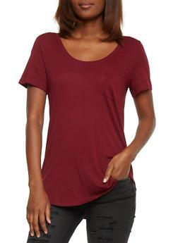 Solid Short Sleeve Scoop Neck T Shirt with Front Pocket - BURGUNDY - 1012054269410