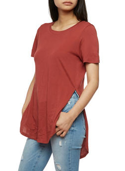 Solid High Low T Shirt with Side Slits - 1012054269411