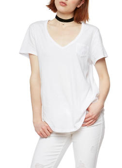 Short Sleeve V Neck T Shirt - WHITE - 1012054269414