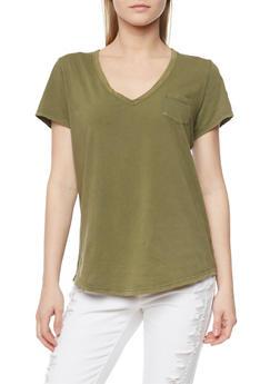 Short Sleeve V Neck T Shirt - OLIVE - 1012054269414