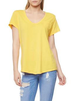 Short Sleeve V Neck T Shirt - MUSTARD - 1012054269414