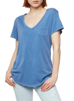Short Sleeve V Neck T Shirt - 1012054269414