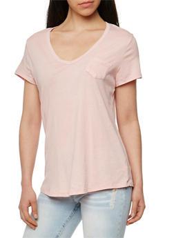 Short Sleeve V Neck T Shirt - BLUSH - 1012054269414