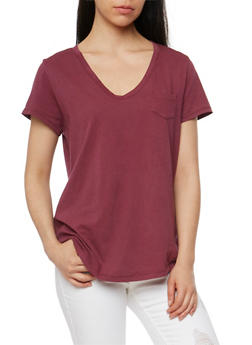 Short Sleeve V Neck T Shirt - BURGUNDY - 1012054269414