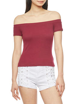 Off the Shoulder Rib Knit Top - BURGUNDY - 1012054269466