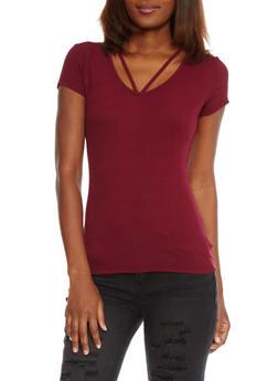 Short Sleeve Rib Knit V Cut Out T Shirt - 1012054269473