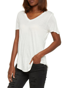 Basic Short Sleeve V Neck T Shirt - 1012054269485