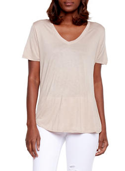 Basic Short Sleeve V Neck T Shirt - 1012054269485