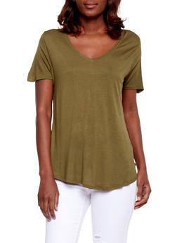 Basic Short Sleeve V Neck T Shirt - OLIVE - 1012054269485