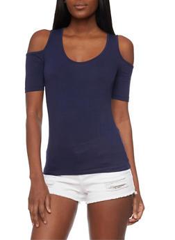 Rib Knit Short Sleeve Cold Shoulder Top - 1012054269661