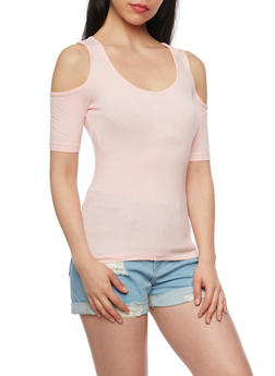 Rib Knit Short Sleeve Cold Shoulder Top - BLUSH - 1012054269661