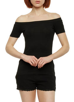 Soft Knit Off the Shoulder Top - 1012054269668