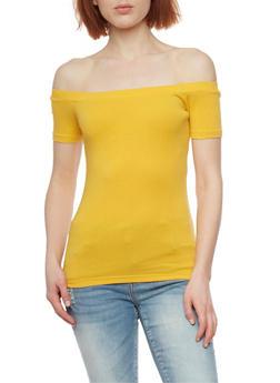 Soft Knit Off the Shoulder Top - MUSTARD - 1012054269668