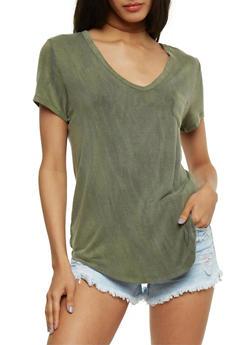 Brushed Knit V Neck T Shirt - OLIVE - 1012054269686