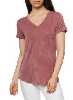 Brushed Knit V Neck T Shirt - 1012054269686