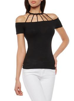 Rib Knit Caged Neck Cold Shoulder Top - 1012054269811