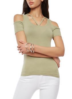 Caged Neck Cold Shoulder Top - 1012054269927