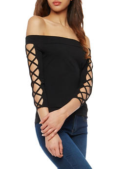Off the Shoulder Caged Sleeve Top - 1012058758887