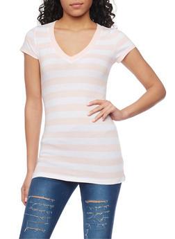 Striped V Neck T Shirt - 1013054264000